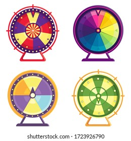 Different wheels of fortune. Set of colorful objects in cartoon style.