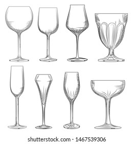 Different wine glass. Hand drawn empty sparkling, champagne and wine glass sketch. Engraving style. Vector illustration isolated on white background.