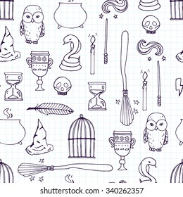 Different witch equipment. Seamless pattern. Vector illustration