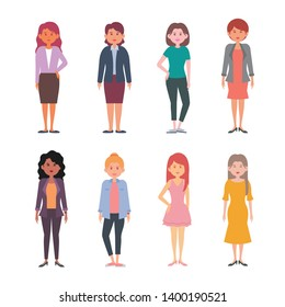 Different women character vector illustration