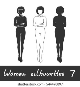 Different women silhouettes. Woman with hands crossed on her chest.. Set 7. Vector clip-art.