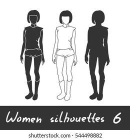 Different Women Silhouettes Woman Hands Crossed Stock Vector