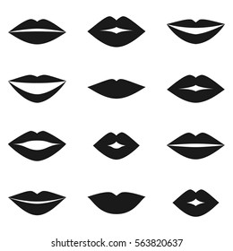 Different women's lips silhouettes vector set on white background