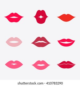 Different women's lips vector icon set  isolated from background. Shape sending a kiss, kissing lips.