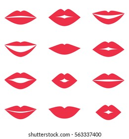 Different women's lips vector set on white background