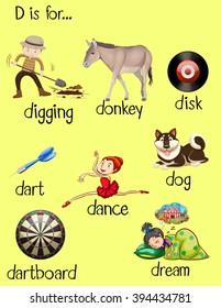 Different words for letter D illustration