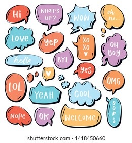 Different words and phrases in multicolor cartoon speech bubbles. Hand drawn slang lettering set for dialogs, messages, chats etc. Handwritten text - hi, love, welcome, omg, yep, nope, cool, hello etc