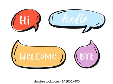 Different words and phrases in multicolor cartoon speech bubbles. Hand drawn slang lettering set for dialogs, messages, chats etc. Handwritten text in comic style and doodle frames - hi, hello, bye