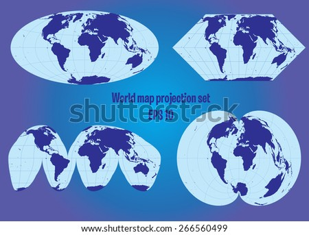 Different World Map Projection Set Stock Vector Royalty Free