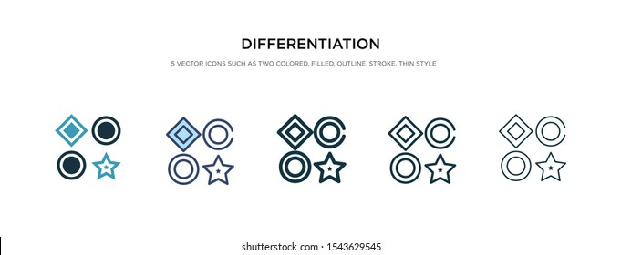 differentiation icon in different style vector illustration. two colored and black differentiation vector icons designed in filled, outline, line and stroke style can be used for web, mobile, ui