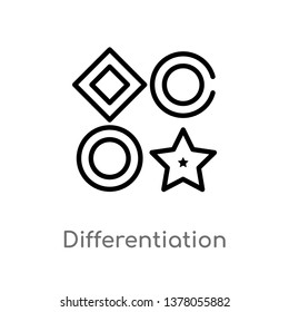 differentiation vector line icon. Simple element illustration. differentiation outline icon from seo and web concept. Can be used for web and mobile