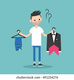 Difficult choice. Young bearded man trying to decide what to wear for the event / Flat vector clip art illustration