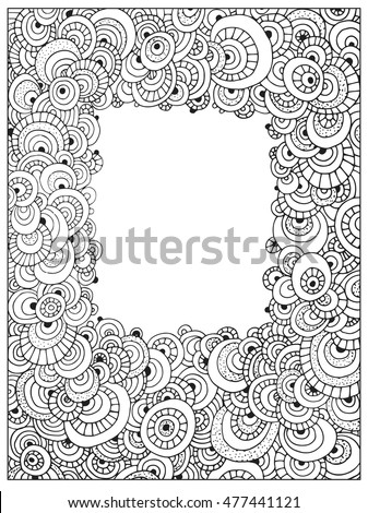 Difficult Circle Uncolored Adult Coloring Book Stock Vector (Royalty ...