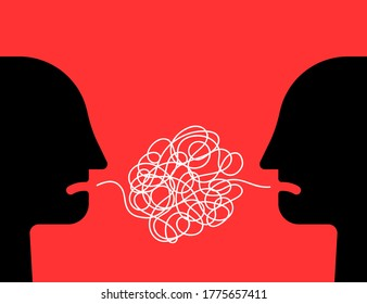 difficult communion between two people. cartoon simple flat trend modern graphic art design isolated on red background. concept of brawl and hard speaking by abuser and depression or stress or anxiety