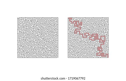 Difficult labyrinth maze game. Complecated puzzle with solution. Find the right way. Vector illustration.