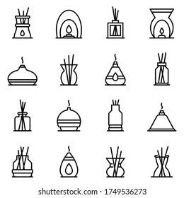 Diffuser-Symbole gesetzt. Rahmenset mit Vektorsymbolen für Diffuser für Webdesign einzeln auf weißem Hintergrund