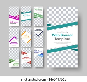 Dig set of white vertical web banners with space for graphic images and diagonal color design elements. Standard size templates for business and advertising.