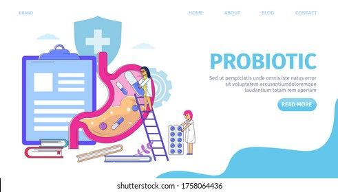 Digestive stomach health care with probiotics landing, vector illustration. Flat medicine bacteria for gut disease, gastrointestinal flora banner. Medical healthy system, person character.