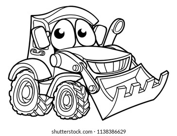 Digger bulldozer construction vehicle mascot cartoon character illustration