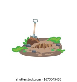 Digging a hole. Grave and excavation. Funeral in desert. Pile dirt and stones. Cartoon flat illustration in white background. Shovel and dry brown earth