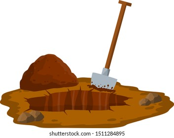 Digging a hole. Shovel and dry brown earth. Grave and excavation. Funeral in desert. Pile dirt and stones. Cartoon flat illustration in white background
