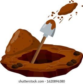 Digging a hole. Shovel and dry brown earth. Funeral in desert. Pile dirt and stones. Cartoon flat illustration in white background. Grave and excavation