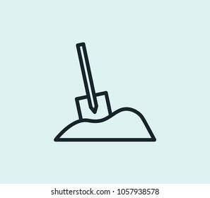 Digging icon line isolated on clean background. Digging icon concept drawing icon line in modern style. Vector illustration for your web site mobile logo app UI design.