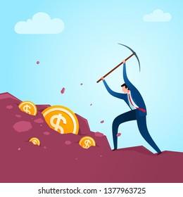 Digging out business result. Business concept illustration.