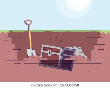 Digging up treasure chest flat vector illustration. Archaeological excavations. Learning of world history. Treasure hunting. Ancient box and spade in ground pit. Historical expedition cartoon backdrop
