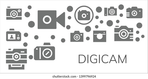 digicam icon set. 11 filled digicam icons.  Simple modern icons about  - Camera