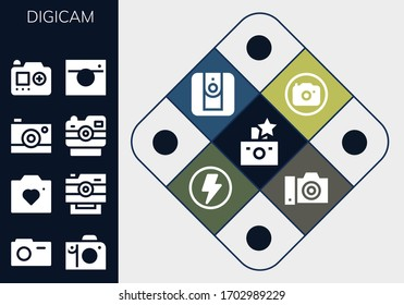 digicam icon set. 13 filled digicam icons. Included Flash, Camera icons