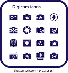 digicam icon set. 16 filled digicam icons.  Collection Of - Camera, Flash