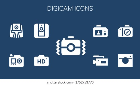 digicam icon set. 9 filled digicam icons. Included Camera icons