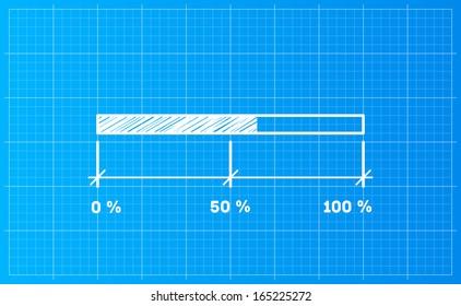 Digiral preloader, download bar on a blueprint background