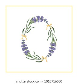 Digit 0 monogram. Retro sign alphabet with lavender flower initial. Watercolor style, botanical illustration isolated on white. Vintage vector font typeface