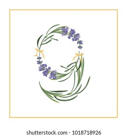 Digit 9 monogram. Retro sign alphabet with lavender flower initial. Watercolor style, botanical illustration isolated on white. Vintage vector font typeface