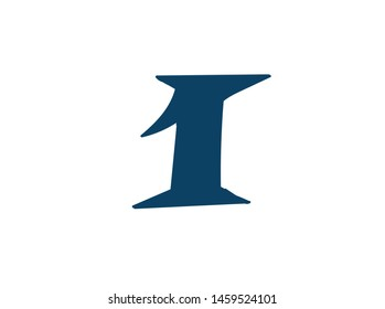 Digit number 1. Vector. Logo for the company. Icon for the site. Separate digit from the alphabet. Barbed pleasant shape.