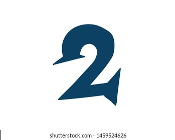 Digit number 2. Vector. Logo for the company. Icon for the site. Separate digit from the alphabet. Barbed pleasant shape.