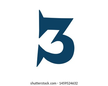Digit number 3. Vector. Logo for the company. Icon for the site. Separate digit from the alphabet. Barbed pleasant shape.