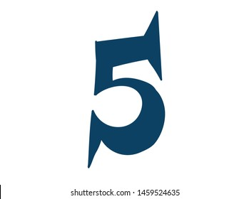 Digit number 5. Vector. Logo for the company. Icon for the site. Separate digit from the alphabet. Barbed pleasant shape.