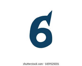 Digit number 6. Vector. Logo for the company. Icon for the site. Separate digit from the alphabet. Barbed pleasant shape.