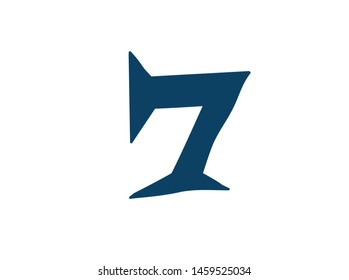 Digit number 7. Vector. Logo for the company. Icon for the site. Separate digit from the alphabet. Barbed pleasant shape.