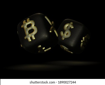 Digital 3D dices with cryptocurrency and fiat currency golden signs Bitcoin and Dollar. Black background. Concept of fortune in crypto investing and stock exchange trading. Vector illustration, EPS 10