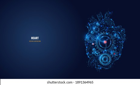 Digital 3d heart with gears inside. Low poly human organ, cogs and gear wheel mechanisms. Biohacking, medicine, health boost concept. Abstract vector dark blue wireframe with lines, dots and stars