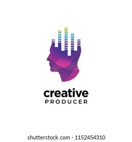 Digital Abstract human head logo for creative music producer with equalizer