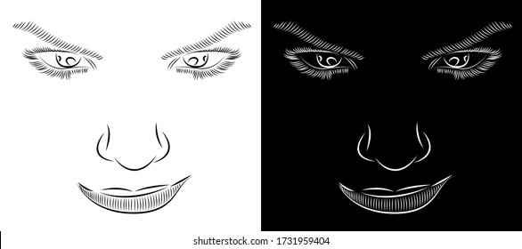 digital abstract painting about seductive look of a woman isolated on black and white background - vector illustration art