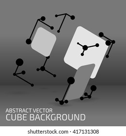 Digital abstract shape. Cube figure with points, shapes and lines. Modern technology illustration for web and print design. Polygonal structure. Tech element concept. Wireframe form. Vector mesh.