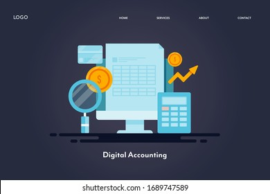 Digital accounting - Commercial banking - Financial calculation - Finance report - conceptual landing page vector template