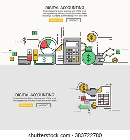 Digital Accounting for website banner and landing page , Flat line design for website element , eps10 vector format