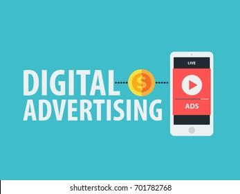 Digital advertising ads social media. vector illustration concept.